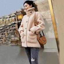 Ropa de invierno para mujer chaqueta de lana de oveja Real Natural con botón y abrigo de piel genuina gruesa para niña ksr683
