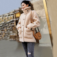 Women Winter Clothes Natural Real Sheep Wool Jacket with Button and Thick Genuine Fur Coat Girl Outwear ksr683