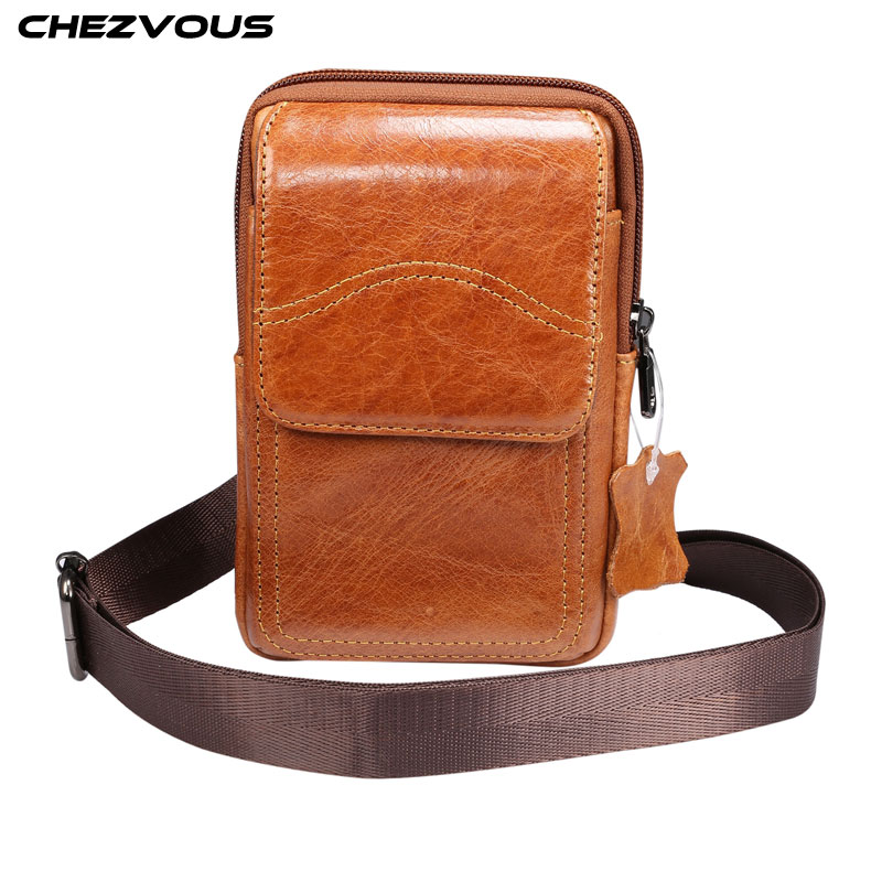 CHEZVOUS Genuine Leather <font><b>Belt</b></font> Clip Phone Bag <font><b>Case</b></font> Universal for 5.0/5.2/5.5/6.4/6.5/6.7/6.9 inch Smartphone with Shoulder Strap image