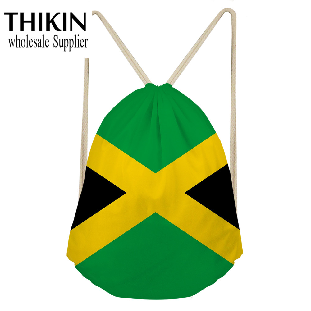 THIKIN Jamaican Flag Pattern Daily Drawstring Backpack Bags Women Men Unisex String Bags Student Carry On Beach Bag Ball Pockets