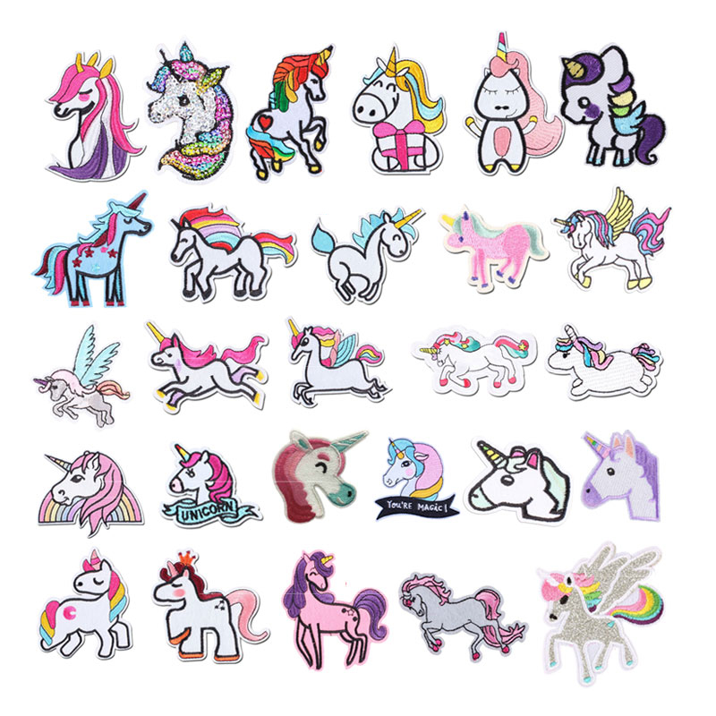 Cartoon Unicorn Planet Things Iron On Patches For Clothing Embroidery Sewing Badge Stripe On Clothes Cute DIY Sequin Applique F(China)
