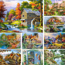 5D DIY Diamond Painting Landscape Villa House Cross Stitch Full Drill Diamond Embroidery Mosaic Picture of Rhinestones Decor