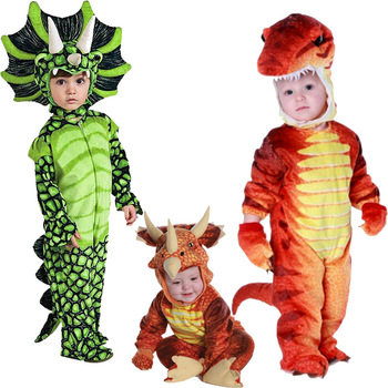 Boys Anime Triceratops Cosplay Costume T-Rex Dinosaur Costumes Child Jumpsuit Halloween Purim Party Costumes for Kids Girls