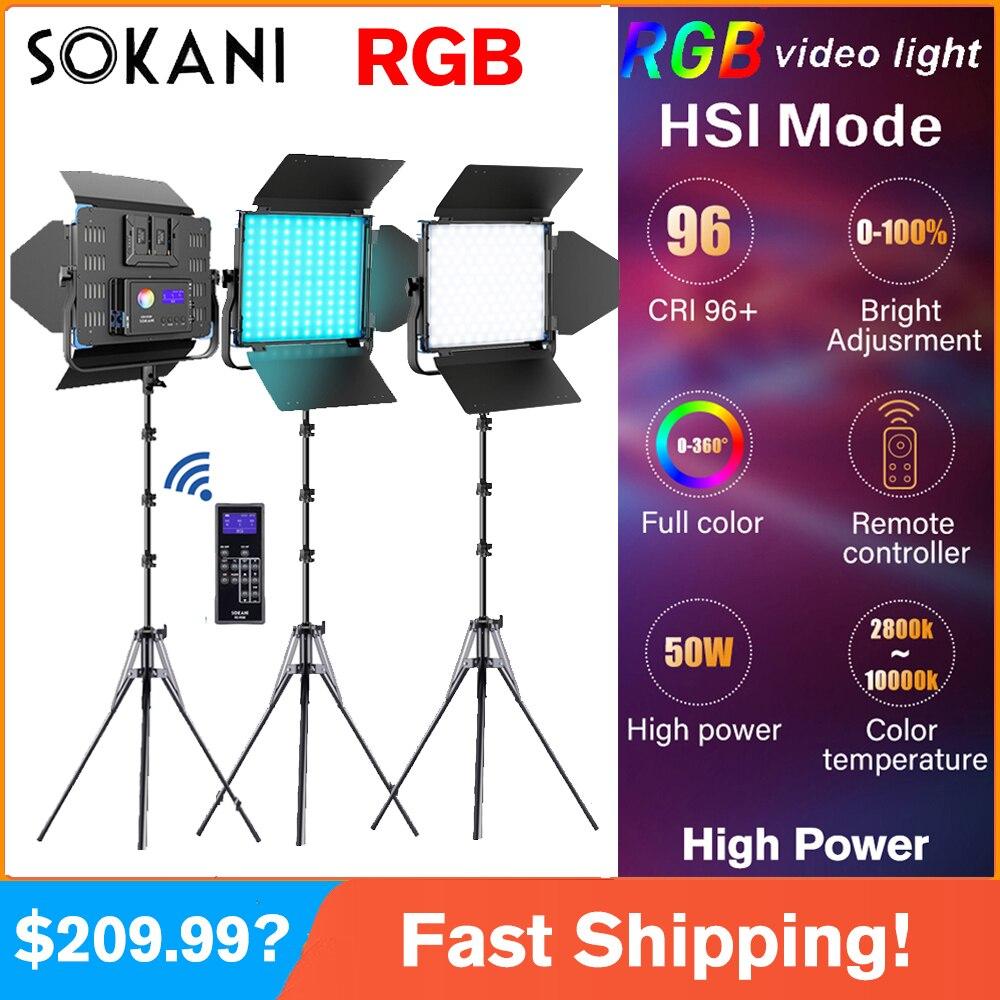 Sokani X50 Camera RGB Light CRI96+ Studio Camera Photo Light Led Video Light kit Tripod Stand Lighting for Studio Video Youtube