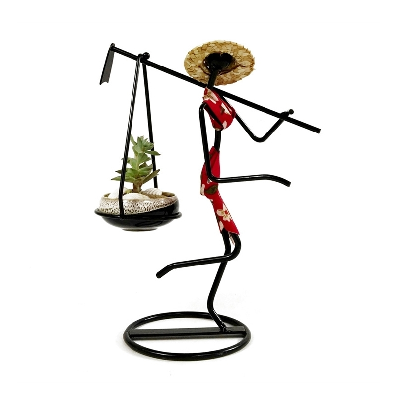 Farm Girl Carrying Axe Flower Pot Wrought Iron Flower Stand Succulent Plant Pot Straw Hat Girl Flower Pot Vase Home Decoration