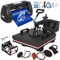 T Shirt Heat Press 15x15 inch 5IN1 and Vinyl Cutter 14 inch Plotter Machine 375mm Paper Feed Vinyl Cutter Plotter 220V/110V