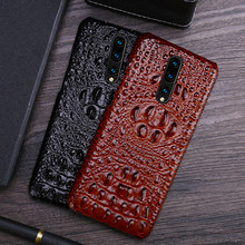 Men's Genuine Leather for OnePlus 7 7T Pro mobile phone case cowhide crocodile leather 3 / 3T 5 5T 6 6T 8 8Pro back cover(China)