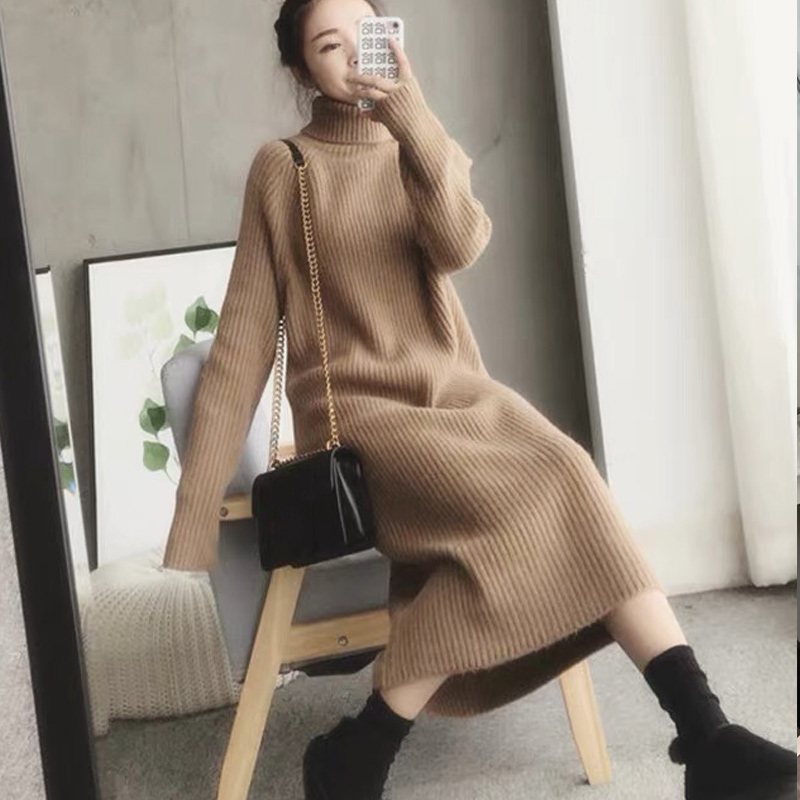 Turtleneck knitted sweater dress ladies fall winter elastic cashmere bottoming shirt midlength over the knee thick sweater dress 8