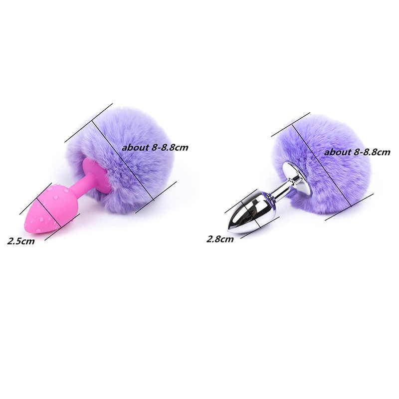 Silikon Butt Plug Geistige Plüsch Ball Kaninchen Schwanz Anal Plug BDSM Sex Spielzeug Für Frauen Bunny Girl Cosplay Kristall Schmuck zubehör