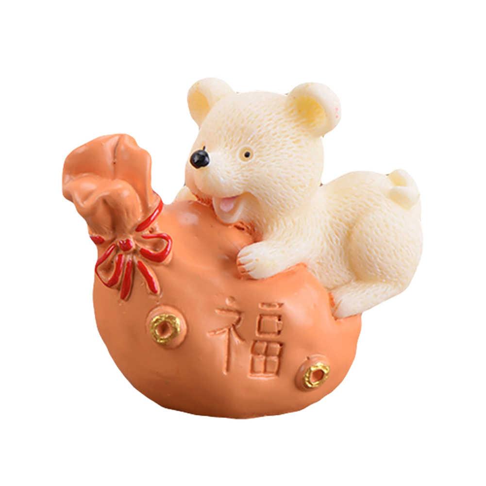 樹脂マネーラッキーラット動物の置物の像 DIY 工芸品ミニガーデンデスクトップ飾りマイクロ風景ラッキーインゴットマウスキーホルダー