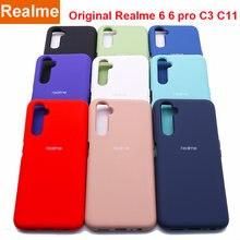 Realme 6 caso original realme6 6 pro capa de silicone de seda de alta qualidade macio-toque de volta protetor realme c3 c11