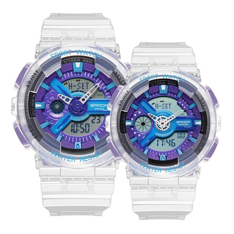 Digtal Dual Display Watch For Man Woman Couple Transparent Strap Sport Fashion Wristwatch 30m Waterproof Luminous Effect