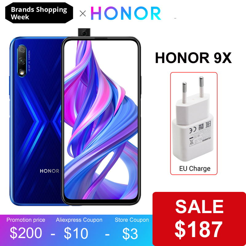 Honor 9X Smartphone Pro Google 64gb LTE/GSM/WCDMA Supercharge Elevating Camera/Game Turbogpu Turbo/Bluetooth 5.0