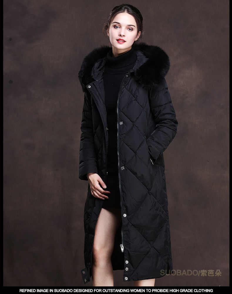 אופנה אישה למטה מעיל באיכות גבוהה גדול שועל פרווה צווארון ורוד שחור ארוך מעיל נשים של מעילי Chamarras דה Mujer KJ487