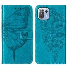 Butterfly Wallet Phone Case For Xiaomi Mi 11 Case PU Leather Case On Xiaomi Mi 11 lite 11i Funda Cover Flip Cases For Mi 11 Pro