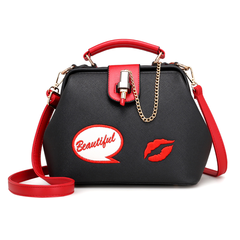 Women Handbag PUleather Women Shoulder Bag Small Doctor Crossbody Handbag Embroideried Lipstick Casual Women Designer Chain Bags