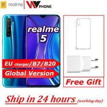 Realme 5 הגלובלי גרסה Moblie טלפון 6.5 מלא מסך Snapdragon 665 AIE Quad מצלמה PowerHero הסלולר