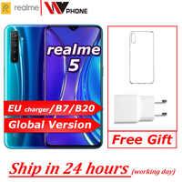 Realme 5 Globale version Moblie Telefon 6.5 ''Full Screen Snapdragon 665 AIE Quad Kamera PowerHero Handy