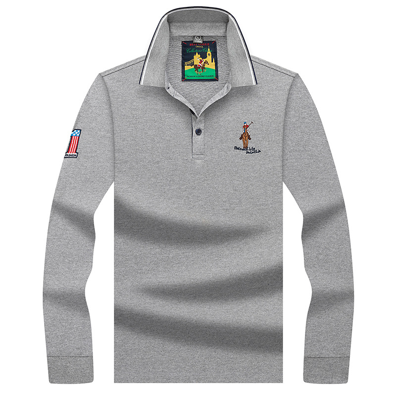 Brand New Men's Polo Shirt Long Sleeve Male Spring Autumn Embroidery Solid Business Casual Shirts Men Clothing Polos AF8910