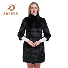 ZDFURS* 2019 New Winter Real Rabbit Fur Jacket Warm Soft Long Coat Women Detachable Overcoat