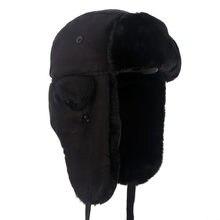 Yeni 2020 Ushanka kış kulaklığı şapkalar sıcak kış siyah bombacı şapka erkekler sahte kürk rus tarzı gorros de aviador