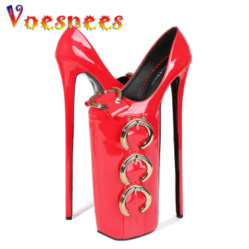 Voesnees Fashion Women Shoes Red Platform Super High Heels 30 cm Metal Buckle Pumps Female Pole Dance Night Club Banquet Shoes image