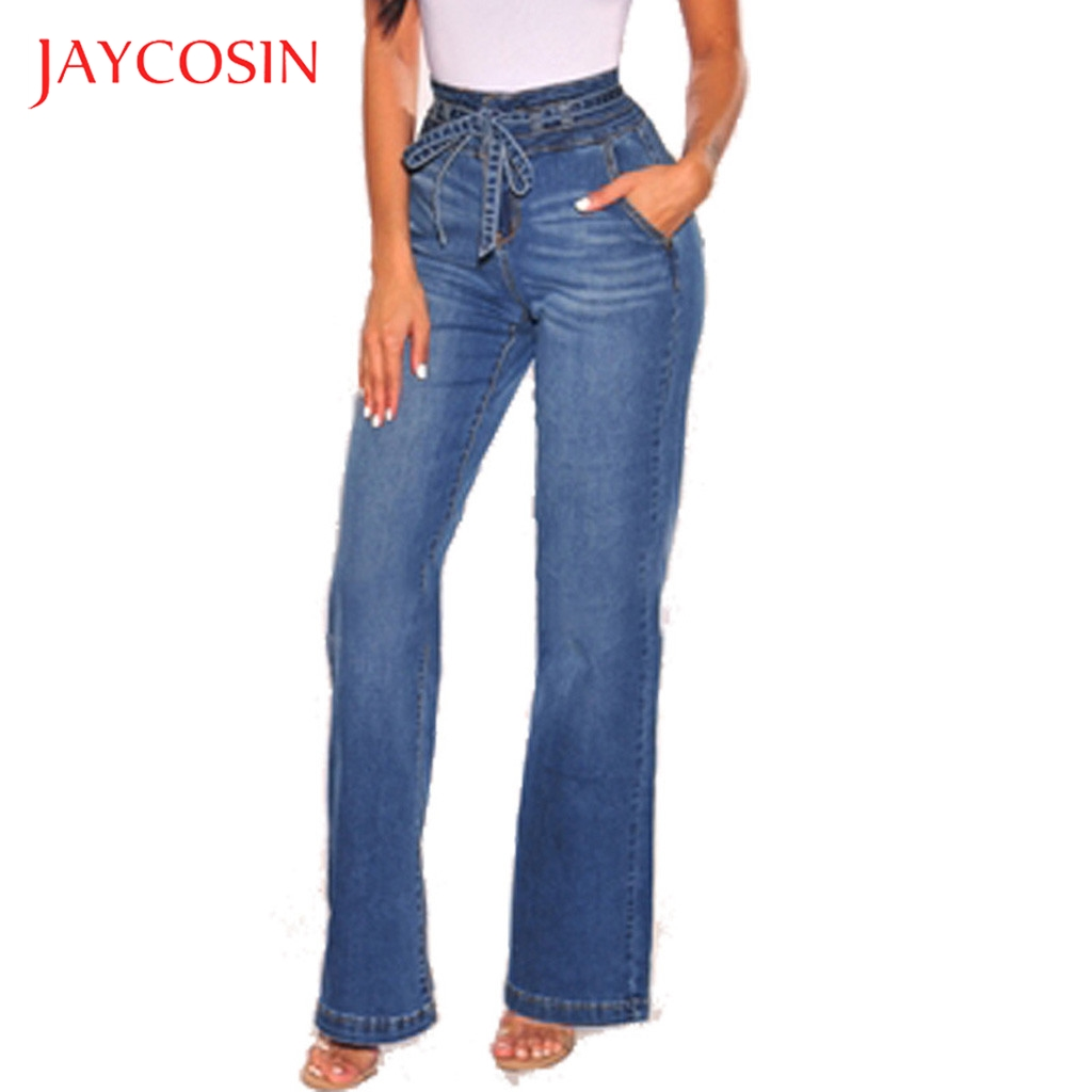 Jaycosin Women High Waist Stretch Lace Up Loose Jeans Wide Leg Pants Denim Autumn Jeans Retro Women Pant Trousers jean femme 87