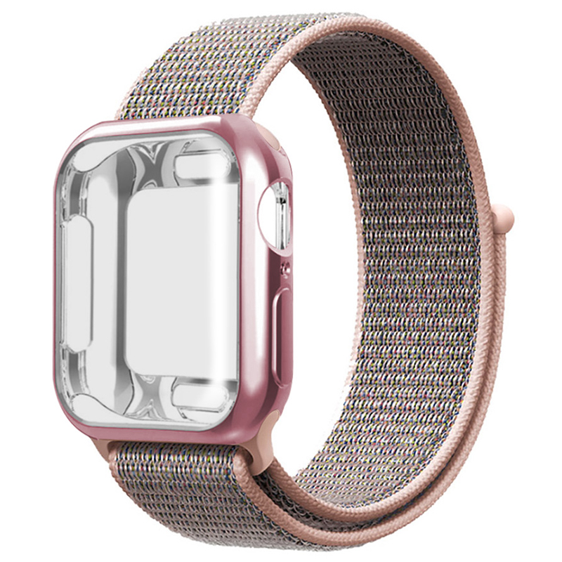 For Nylon Strap+case Apple Watch 5/4/3/2/1 42mm 38mm Pulseira Band  Applies To Iwatch 40mm 44mm Sport Bracelet