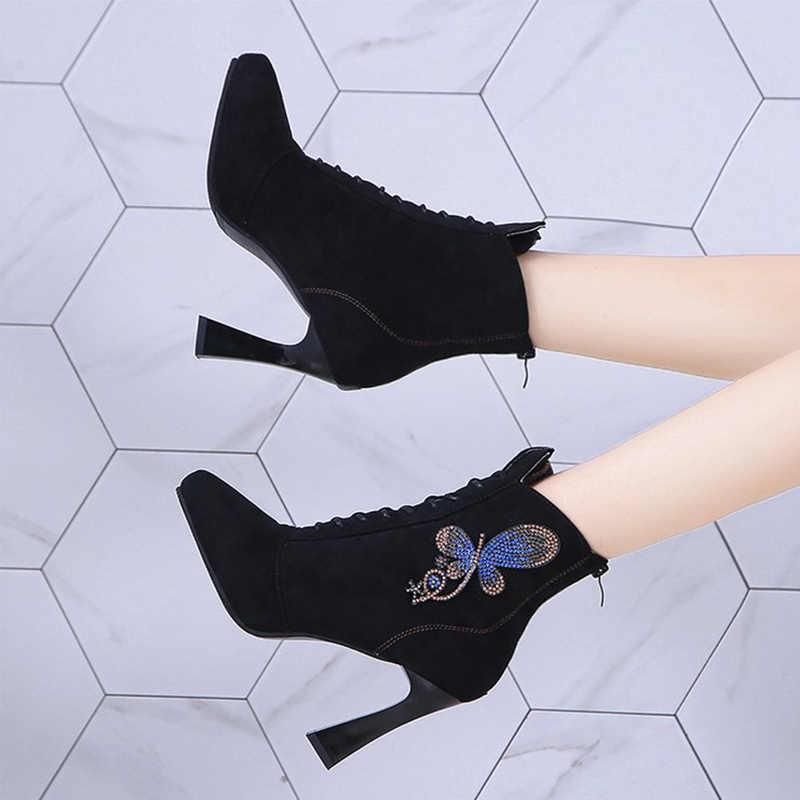 คริสตัลผีเสื้อผู้หญิงข้อเท้ารองเท้าแพลตฟอร์ม Suede Pointed Toe ฤดูใบไม้ร่วง Lace Up สุภาพสตรีรองเท้าส้นสูง PU รองเท้าสบายๆหญิง