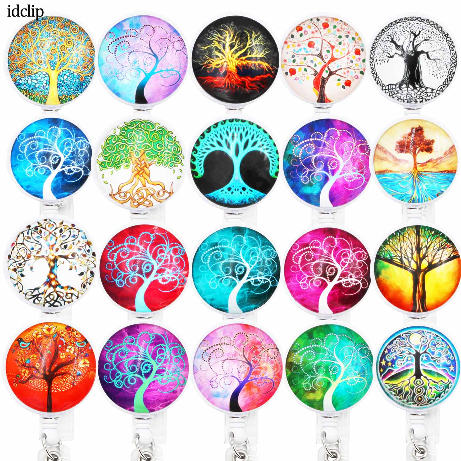 Idclip 1PC ID Retractable Badge Holder With Alligator Clip Life Tree Retractable Cord ID Badge Reel 24 Inch