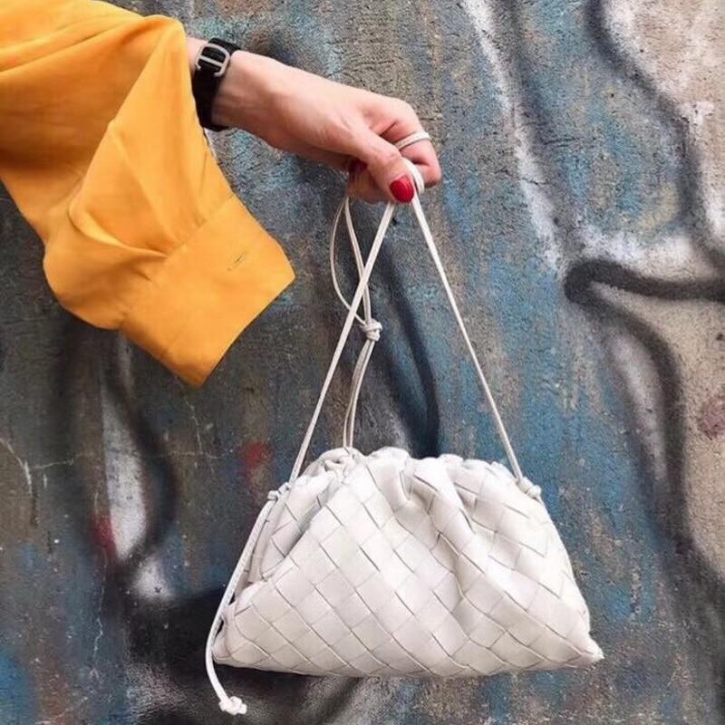 Кожаная плетеная Сумка-конверт, вязаные роскошные женские сумки, дизайнерские объемные круглые кошельки и сумочки, клатч