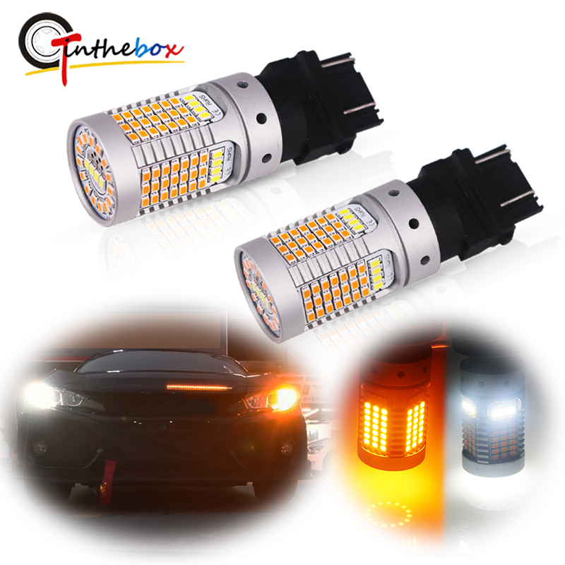 Error Free No Hyper Flash Dual Color Switchback White/Amber 3157 12V 3155 <font><b>T25</b></font> <font><b>LED</b></font> Bulbs For Daytime Running/Turn Signal Lights image