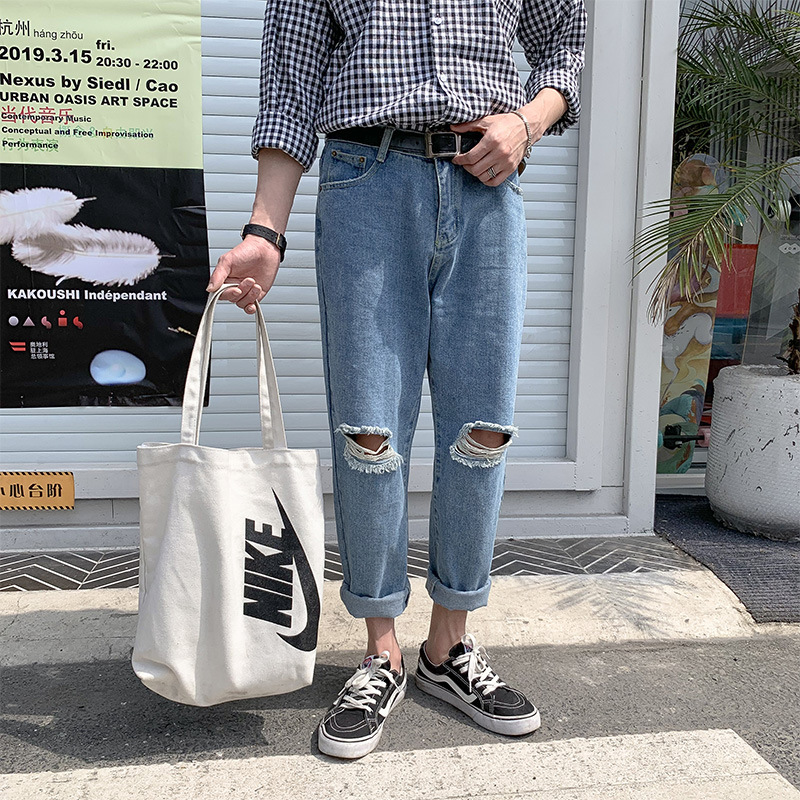 Spring Summer Harajuku Wind INS With Holes Jeans Men's Korean-style Loose Straight Skinny Pants Trend Students Capri Pants