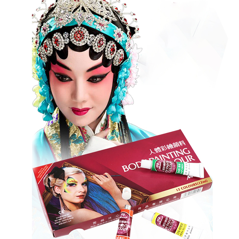 Madisi Body Painting Pigment Set 12 Colors 12ML Masquerade Prom Cosplay Oil Paint Face Drama Paint Halloween Face Makeup Figment(China)