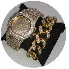 Мужские часы в стиле хип-хоп золотистого цвета, Роскошные мужские часы и браслет из золотистого и серебристого цветов, часы в Кубинском стиле с кристаллами и цепочкой в стиле хип-хоп для мужчин