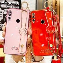 Boucho Luxe Galvaniseren Telefoon Case Voor Huawei P40 P30 P20 Pro Honor 9X20 30X10 10 Lite 30S Wrist Strap Lanyard Telefoon Case