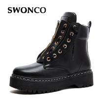 SWONCO Fashion Ankle Boots Winter PU Leather Women Boots Work Shoes Black 2019 New Round Toe Lace-Up Women Martin Boots Shoes цена