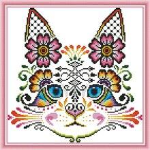 Joy Sunday,Cat,cross stitch embroidery kit,Cartoon cross pattern,cross needlework,Animal pattern kit