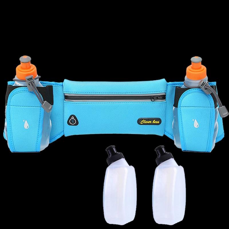 New Running Belt With 2 Water Bottle Reflective Belt Men Women Waist Pack Outdoor Multifunction Running Bags Sport Fanny Packs