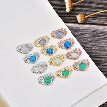 KAMAF Fashion Connector DIY Bracelets Earrings Round Fire Opal Zircon Charms Rose Gold Color Copper Accessories