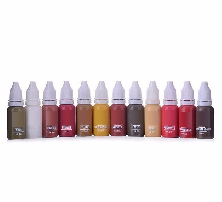 10 Colors Tattoo Makeup Permanent Tattoo Ink Set 15ml One Bottle BioTouch Pigment For Eyebrow Embroidery Tattoo Makeup Pigment