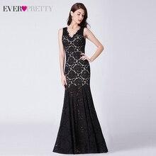 Vestidos de Noche de encaje negro Sexy largo Ever Pretty Doble cuello pico fruncido transparente vestidos de fiesta de estilo sirena Abiye Gece Elbisesi
