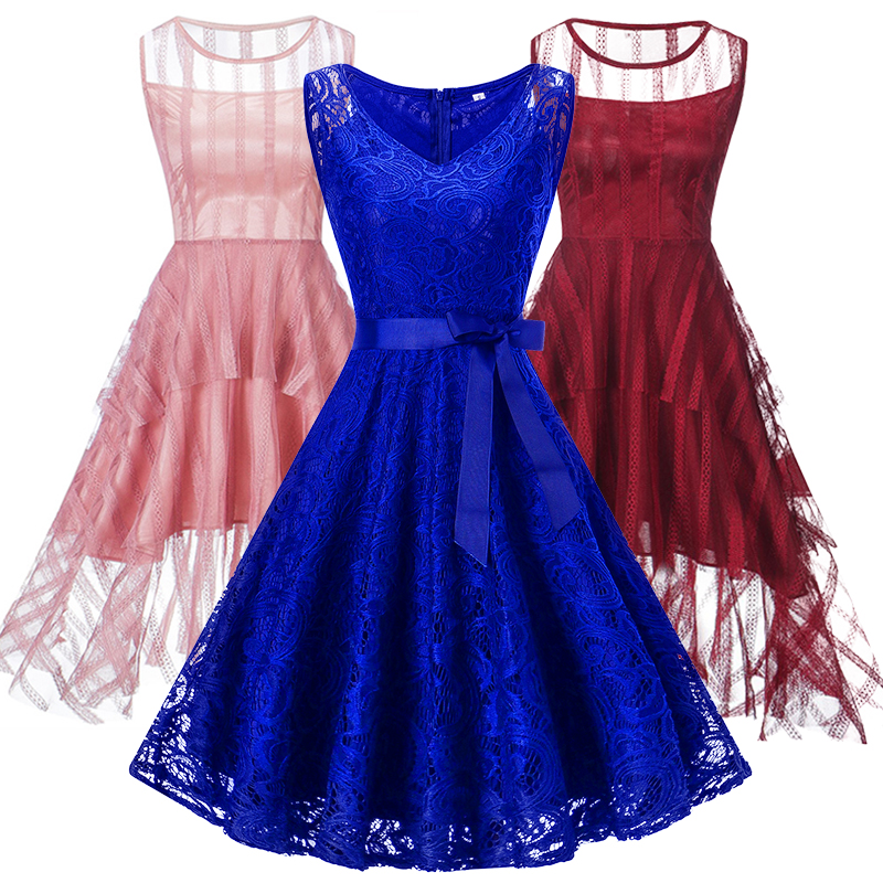 New Lace Up Red Lace Up Short V Collar Wedding Party Prom Dress 2020 Bride Marry Bridesmaid Elegant Lady Party Dresses
