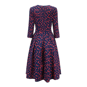 Image 5 - Sabor feminino elegante a linha vestido midi impressão vintage vestidos de festa três quartos manga feminina 2020 outono inverno vestido