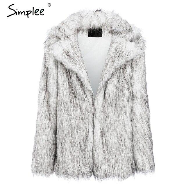 Simplee Winter fax fur women coats Luxurious white long fur loose outerwear Plus size thick warm shaggy female streetwear coat 8