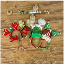 Рождественские обручи с оленьими рогами, снежинка, украшение на голову, для взрослых и детей, рождественская елка, головные уборы, новогодние вечерние украшения для дома