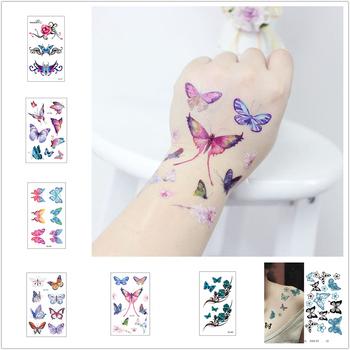 1 sztuk Sexy fałszywy tatuaż moda kolorowe kwiaty motyle tatuaż kobiety nowy wodoodporny tymczasowy czarny tatuaż naklejki tatuaże do ciała tanie i dobre opinie Jedna jednostka CN (pochodzenie) 10 5*6 cm Zmywalny tatuaż
