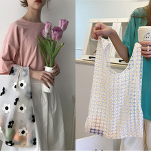 Women Foldable Recycle Reusable Handbags Designer Mesh Embroidery Light Clear Organza Jelly Shopping Bag Flowers Tote Bag