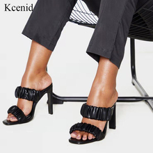 Kcenid Sexy geplooide vierkante teen dames slippers zomer fashion party hoge hakken schoenen gladiator slides sandalen vrouwen schoenen zwart