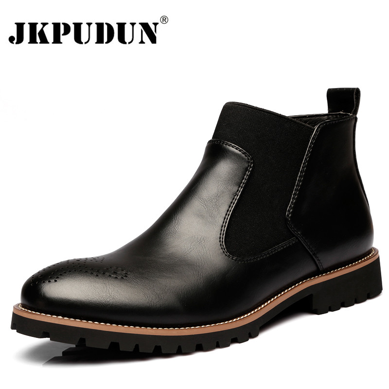 Genuine Leather Ankle Chelsea Boots Men Winter Work Shoes Vintage Classic Male Casual Motorcycle Boots Cowboy Botas 2019 JKPUDUN